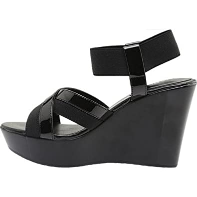 7d9e4bae0e37 Image Unavailable. Image not available for. Color  Charles David Charles by  Women s Fort Ankle Strap Wedge Sandal Black Elastic ...