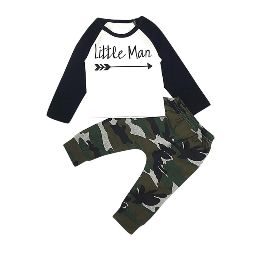 Kolylong Cool Kids Boy Autumn Outfits for 1-5Years, Letter T Shirt Tops+Camouflage Pants Clothes Set