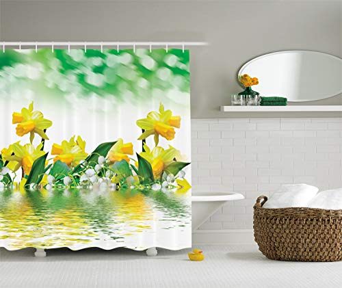 (Ambesonne Leaves Shower Curtain Housewarming Gifts Daffodil Green Garden Fabric for Floral Decor Bathroom Decorations in Yellow White and Green Reflection on Water Closeup Picture Flower Pattern)