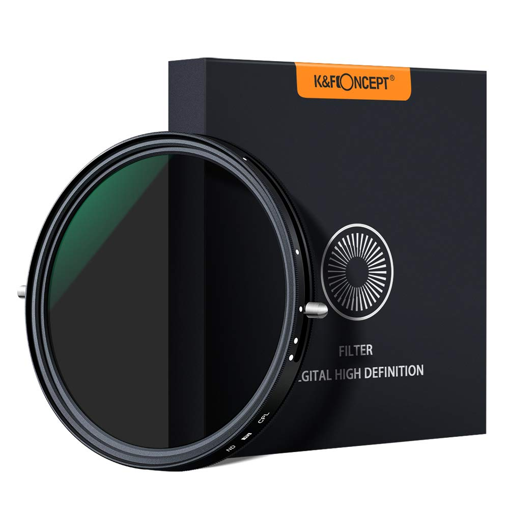 K&F Concept 77mm Variable Fader ND2-ND32 ND Filter and CPL Circular Polarizing Filter 2 in 1 for Camera Lens No X Spot Weather Sealed by K&F Concept