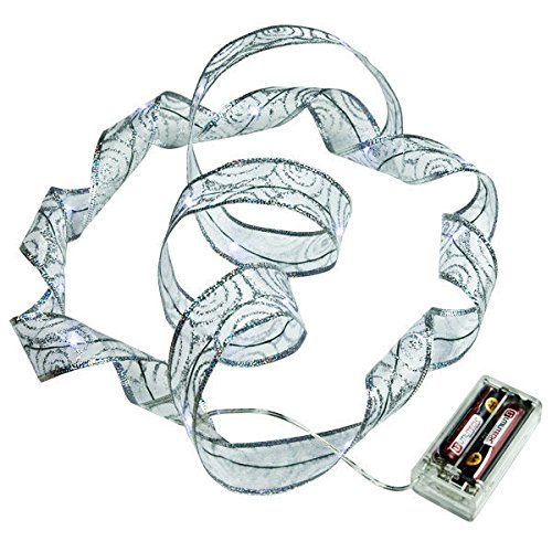 4in Wire Leads (6 ft. Lighted Length - 1.5 in. Width - SILVER Ribbon - (18) COOL WHITE LEDs - 4 in. Battery Lead Wire)