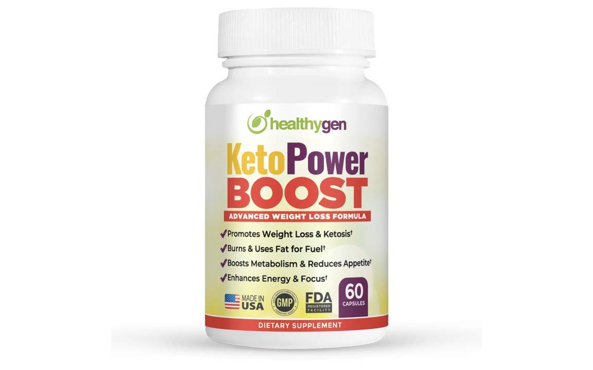 Healthygen KetoPower Boost Pills - High Potency, 4 Ketone Salts (Calcium, Sodium, Magnesium and Potassium), MCT Oil, Turmeric & Forskolin to Boost Ketosis Non-GMO - 60 Capsules - Best Exogenous Ketone