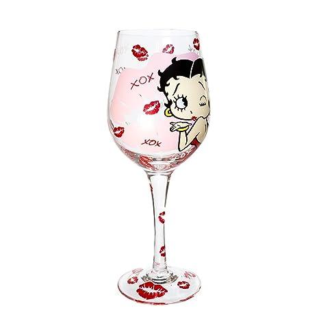 Amazon.com: Kurt Adler Betty Boop XOXO Vino Vidrio: Home ...