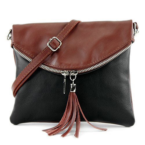 T07 Girl nappa Schwarz Bag Ital Bag Leather leather Shoulder Braun Underarm Shoulder Bag Bag T139 Clutch Small zxPOCqxw