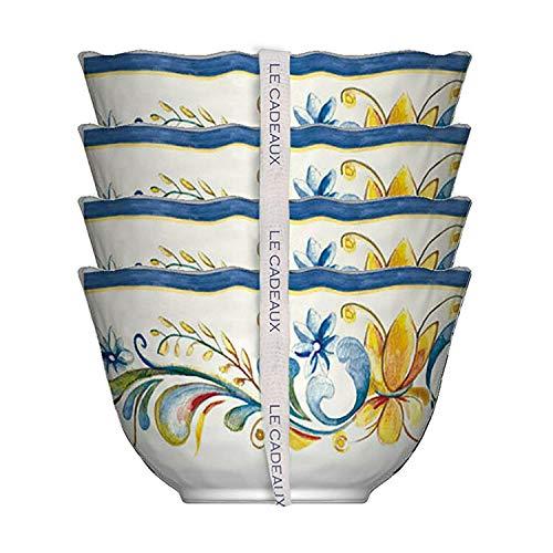 (Le Cadeaux Melamine Floral Harvest - Set of 4 Dessert Bowls)