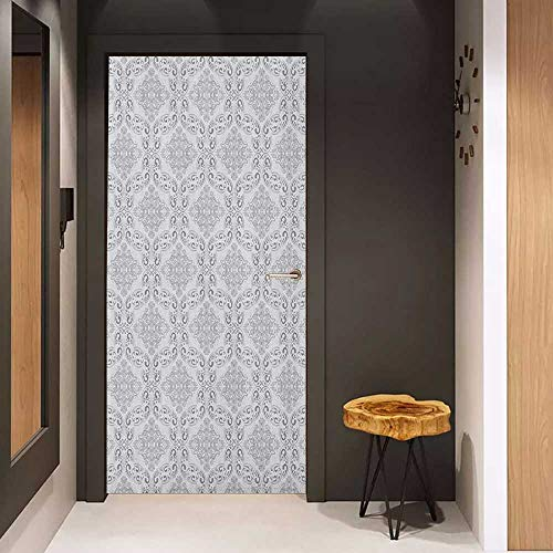 Soliciting Sticker for Door Grey Victorian Antique Tile Pattern with Royal Curlicues Old Rich Scroll Regency Motifs Mural Wallpaper W23.6 x H78.7 Grey Pale Grey