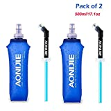 Pack 2 TPU Soft Hydration Water Bottle BPA-Free Collapsible Flask-Use in Hydration Vest for Marathon Running Hiking Cycling
