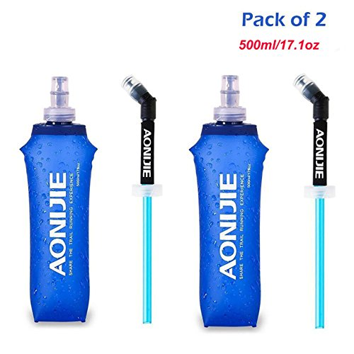 AONIJIE Pack 2 TPU Soft Hydration Water Bottle BPA-Free Collapsible Flask-Use in Hydration Vest for Marathon Running Hiking Cycling (500ml/2x17.1oz)