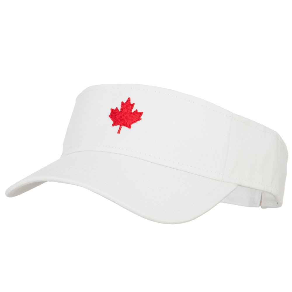 Canada Logo Maple Leaf Embroidered Cotton Sun Visor - White OSFM