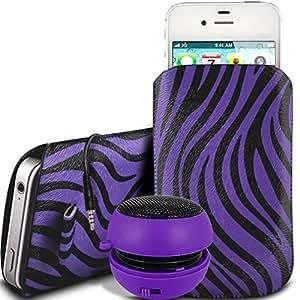 Online-Gadgets UK - Acer Liquid E3 protección PU Zebra Diseño deslizamiento cordón tirador de la cremallera en la caja de la bolsa con cierre rápido y 3.5mm recargable Mini altavoces - Purple