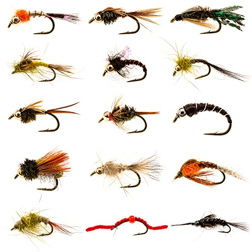 Manefish Nymph Flies Army - 15 Essential Nymph Flies Perfect for Trout, Bass and (March Brown Mayflies)