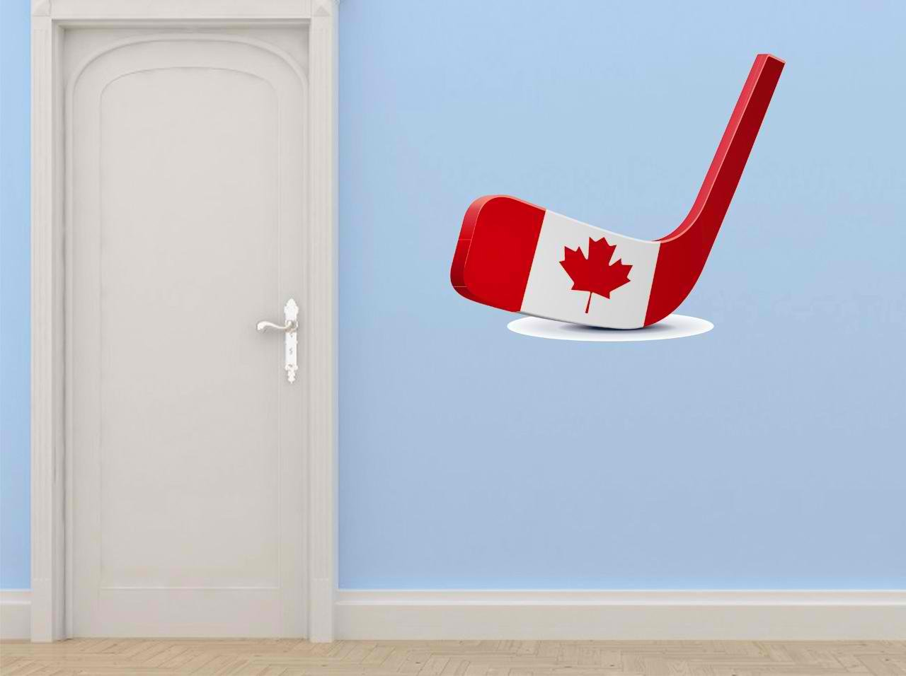 Design with Vinyl Cryst 247 445 As Seen Canada Hockey Stick Team Sport Puck Red White Vinyl Wall Decal Art Home Decor, 30 by 30-Inch, As Seen