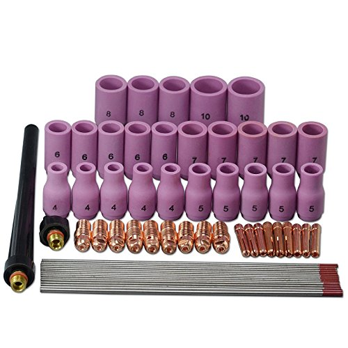 TIG Alumina Nozzle Collets Bodies Tungsten Electrode Fit SR PDA DB WP 9 20 25 TIG Welidng Torch 60pcs (Tungsten Pda)