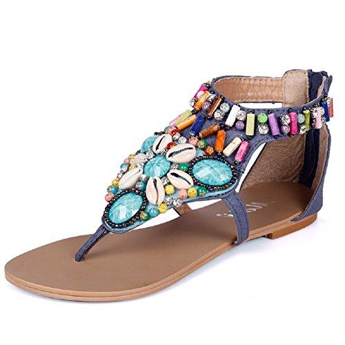 Lazutom - Sandalias de vestir de Piel Sintética para mujer Azul