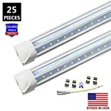 8FT LED Tube Light Bulb, 72W 7200LM, Double Side V Shape Integrated 8 Foot LED Light Fixtures, T8 LED Shop Lighting, Clear Cover, Cool White 6000K, AC85-265V, LED Cooler Door Lights (25-Pack)
