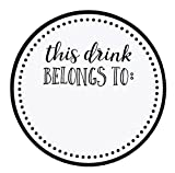 Drink Markers - 500-Pack Drink Stickers, This Drink Belongs to, Blank Drink Labels for Drink Party, Wedding, Bridal Shower, Birthday Party Supplies, Cup Marker Sticker Roll, 2 inches Diameter
