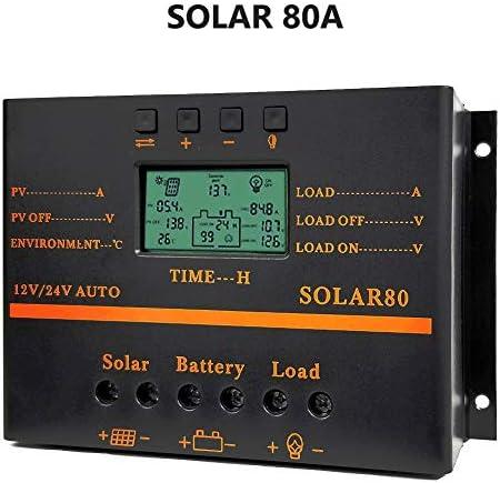 Solarladeregler 80A PWM 12V 24V 1920W Solarladegerät mit 5V USB-Ausgang Multip-Schaltkreisschutz Anti-Fall Durable ABS-Gehäuse Verbesserter Kühlkörper