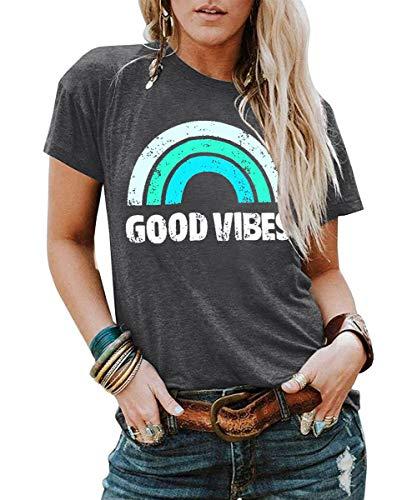 YEXIPO Womens Graphic Tees Good Vibes Shirt Short Sleeve Funny T Shirts Rainbow Print Cute Summer Tops (X-Large, 1-Dark Grey)