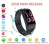 Fitness Tracker 2018, Color Screen Activity Health Tracker Waterproof with Pedometer Calorie Blood Pressure Oxygen Heart Rate Sleep Fatigue Levels Monitor SMS for Kids Men Women Android phones Iphone
