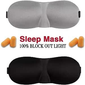 TBONEEY Antifaz para Dormir, 2 Piezas 3D Contoured Comfortable Máscara del Sueño Ligero & Elegente 3D Eye Mask, Sleep Mask con Tapón de Oído para Viajar, Trabajo, Dormir, Echar la Siesta y Meditación etc ( Black y Gris )
