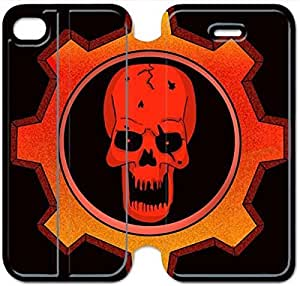 Leather Smart Cover With Flip Stand Phone Case iphone 4 4s-gears of war skull-36