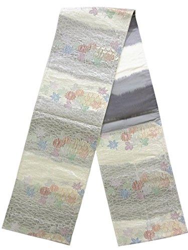 ロゴデコードする亜熱帯リサイクル 袋帯  古典 蛇籠に菊や楓 正絹 六通