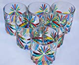 Authentic Murano Highball Glasses, Star, Set of 6
