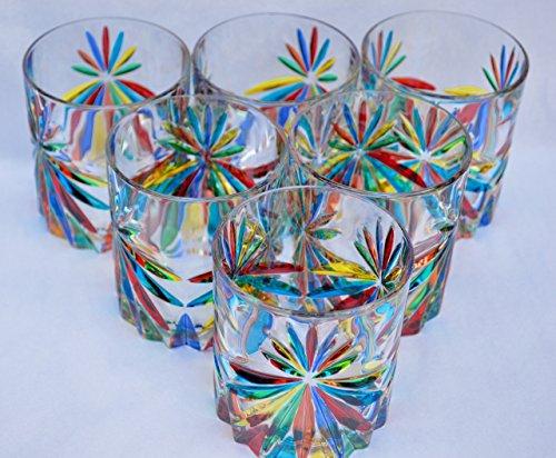 Authentic Murano Highball Glasses, Star, Set of 6 by Murano Glass
