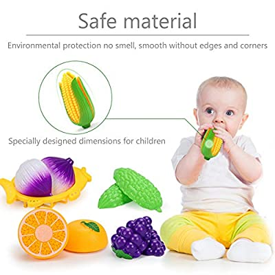 Food Cutting Fruit Set For Kids Pretend Role Play - Plastic Toy Food Kitchen Accessory: Kitchen & Dining