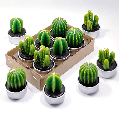 Birthday Wedding Candle - Cactus Tealight Candles Handmade Delicate Succulent Tea Light For Home Birthday Party Wedding Decor 6 Pcs