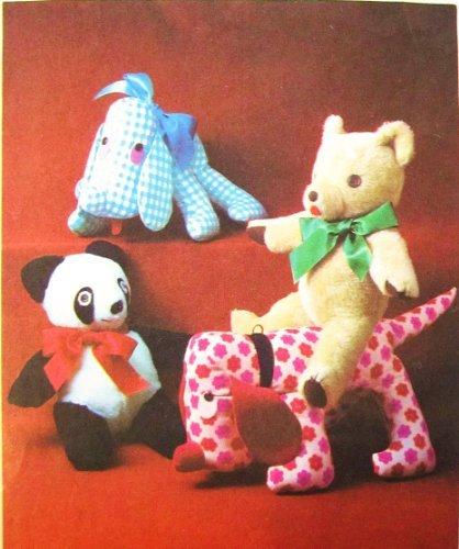 (Simplicity 8908 Set of Stuffed Toys, Vintage Sewing Pattern, Dog, Bear, Panda, Hound)