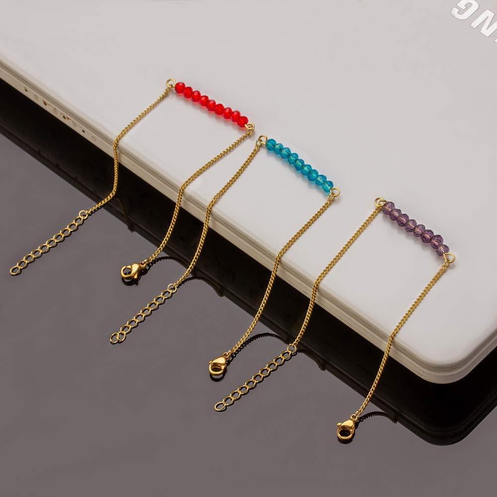 Exweup Dainty Bracelets for Women Tiny Birthstone Bracelet Set 18K Gold Minimalist Jewelry Gifts for Girls 3-4Pcs