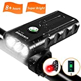 NEW Bike Lights Front and Back, USB Rechargeable Super Bright 1000 Lumens 3 LED Mountain/Road Bicycle Headlight Lamp FREE Taillight Set,Safety Flashlight 5200mAh,Easy Install