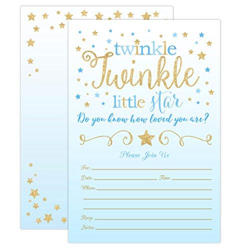 Boy Twinkle Twinkle Little Star Baby Shower Invitations, Blue and Gold Twinkle Twinkle Little Star Boy Baby Shower Invites, 20 Fill in Style With Envelopes