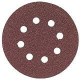 "Bosch SR5R085 5"" Hook & Loop Sanding Disc, 8-Hole, Red, 80 Grit (50 Pack)"