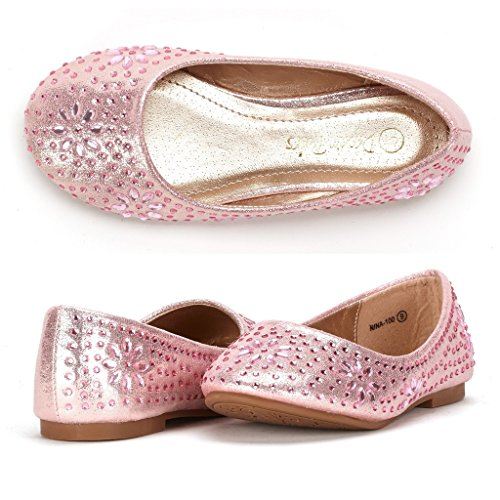 DREAM PAIRS Little Kid Nina-100 Pink Suede Girls Dress Shoes Classic Ballet Flats - 13 M US Little Kid