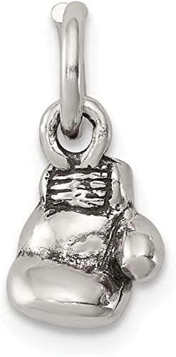 925 Sterling Silver Antiqued Boxing Glove Charm