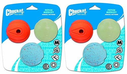 Chuckit! Fetch Medley Balls Medium 6-Pack (2 Packages of 3) (Fetch Medley Balls)