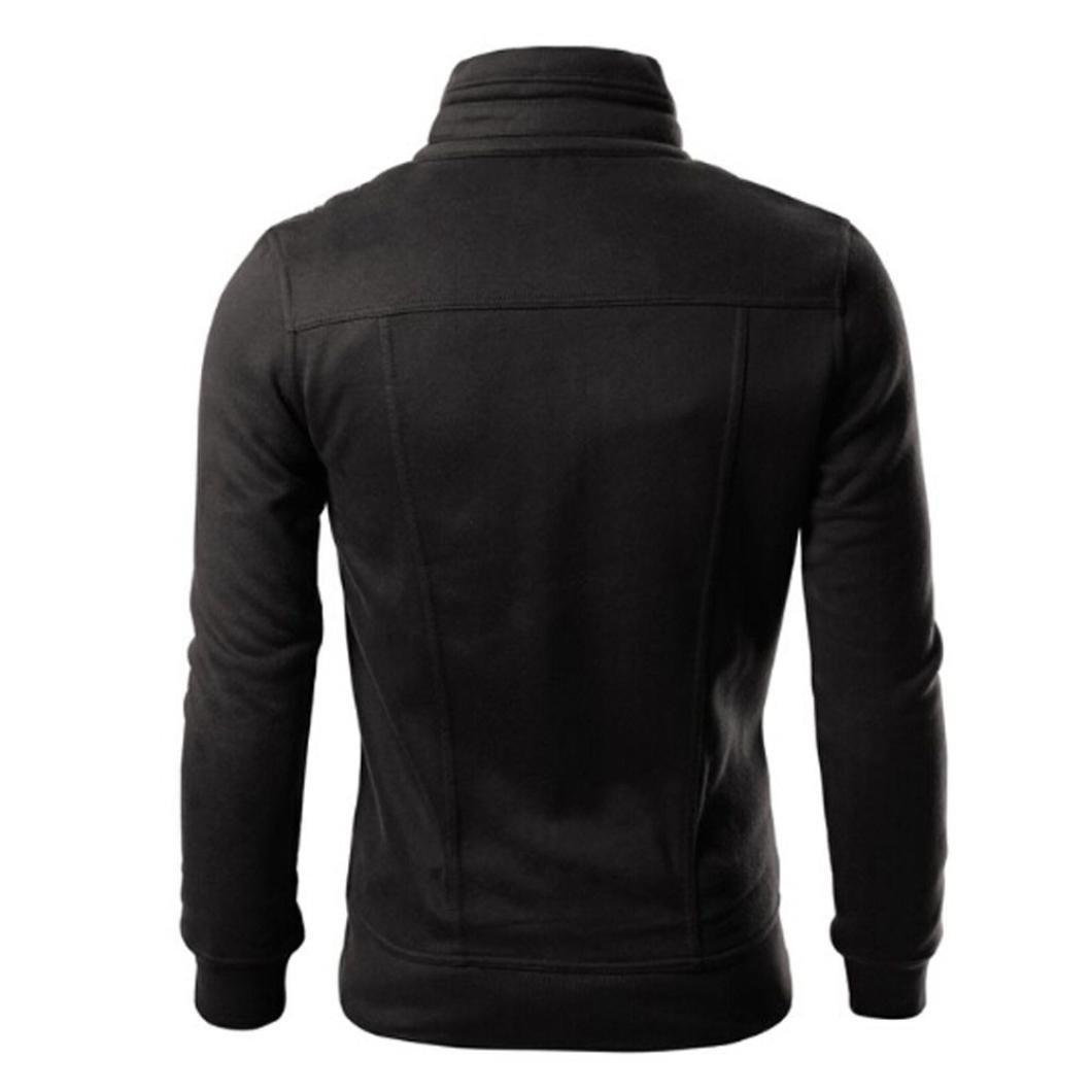 Huaya Manteau à Capuche décontracté pour Homme - Manches Longues - Fermeture Éclair intégrale Noir