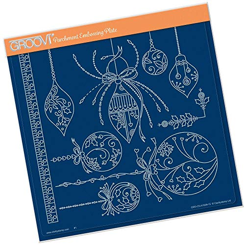 - Groovi Parchment Embossing Plate - Tina's Christmas Baubles Plate - Laser Etched Acrylic for Parchment Craft