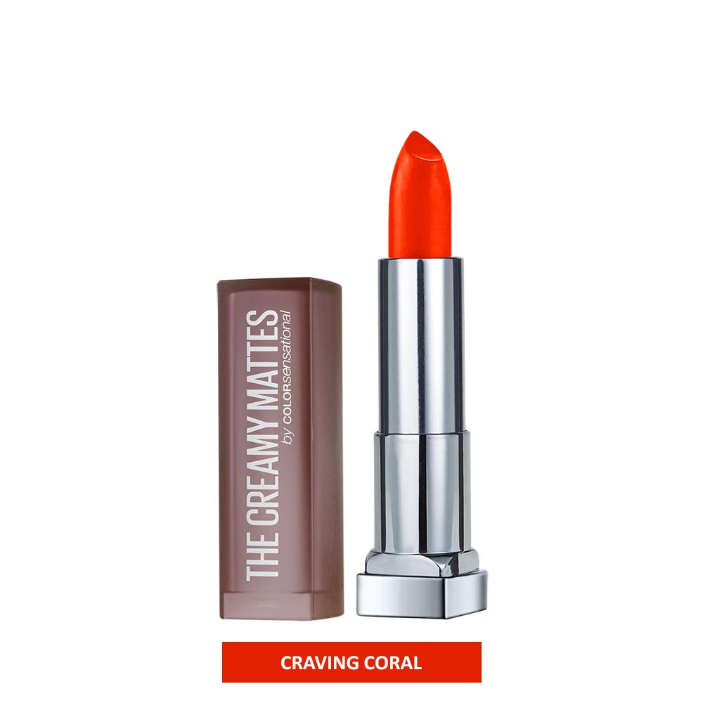 Maybelline New York Color Sensational Creamy Matte Lip Color, Craving Coral, 0.15 Ounce