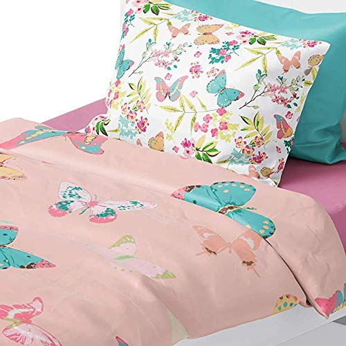 (Chital Twin Bed Sheets For Girls | 4Pc Colorful Butterfly Fun Print Coral Pink Bedding Set | Super Soft Microfiber Kids Sheet set | 1 Flat Sheet, 1 Fitted Sheet, and 2 Pillow Cases | 15