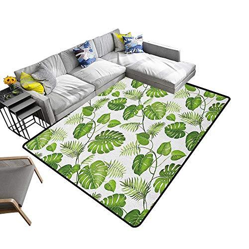 Leaf Household Decorative Floor mat Brazilian Rainforest Foliage Nature Ivy Swirls Palm Banana Trees Leaves Art Print 78