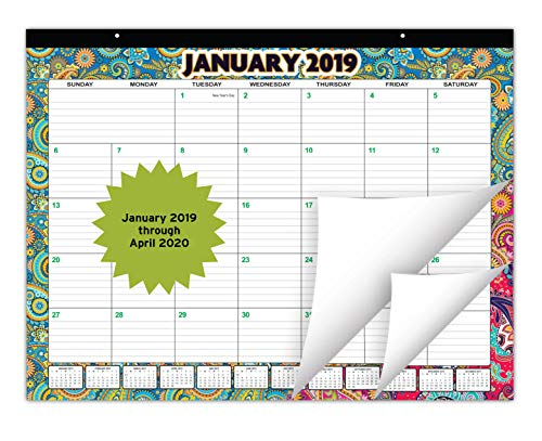 (Large Desk Calendar January 2019 Through April 2020 (16 Months) | Monthly Planner with Beautiful Paisley Design | Desktop Organizer Pad for Home, Office, and Wall Décor | 22X17 Inches)