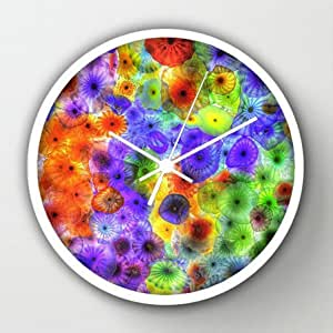 "Timex Universal Indoor/Outdoor Clock Multicolored Jellyfish White Round Frames Wall Clock Art Design Watch Wall 10"" Diameter Digital Wall Clocks"