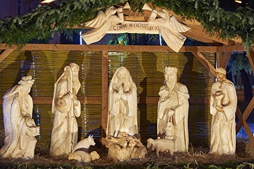 Home Comforts Laminated Poster Santa Claus Carved Christmas Nativity Scene Wood Vivid Imagery Poster Print 24 x 36