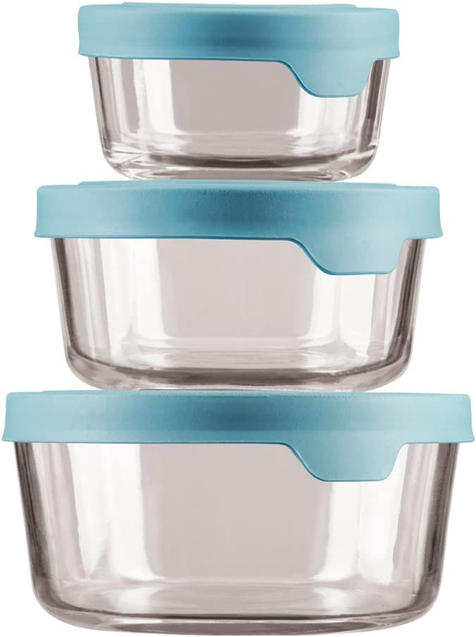Anchor Hocking TrueSeal Glass Food Storage Containers with Mineral Blue Airtight Lids, 6-Piece Round Set