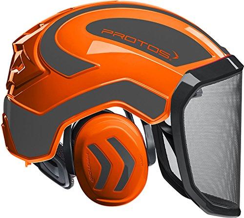 Protos Sicherheitshelm Integral Forest Gehörschutz, Farbe:orange/schwarz;Ausstattung:grobes Visier