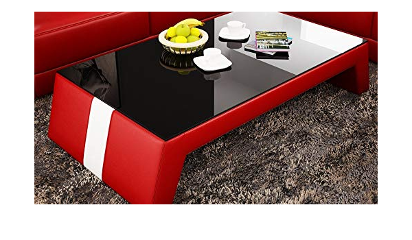 Amazon Com My Aashis Contemporary Red Leather Coffee Table W Black Glass Table Top Furniture Decor
