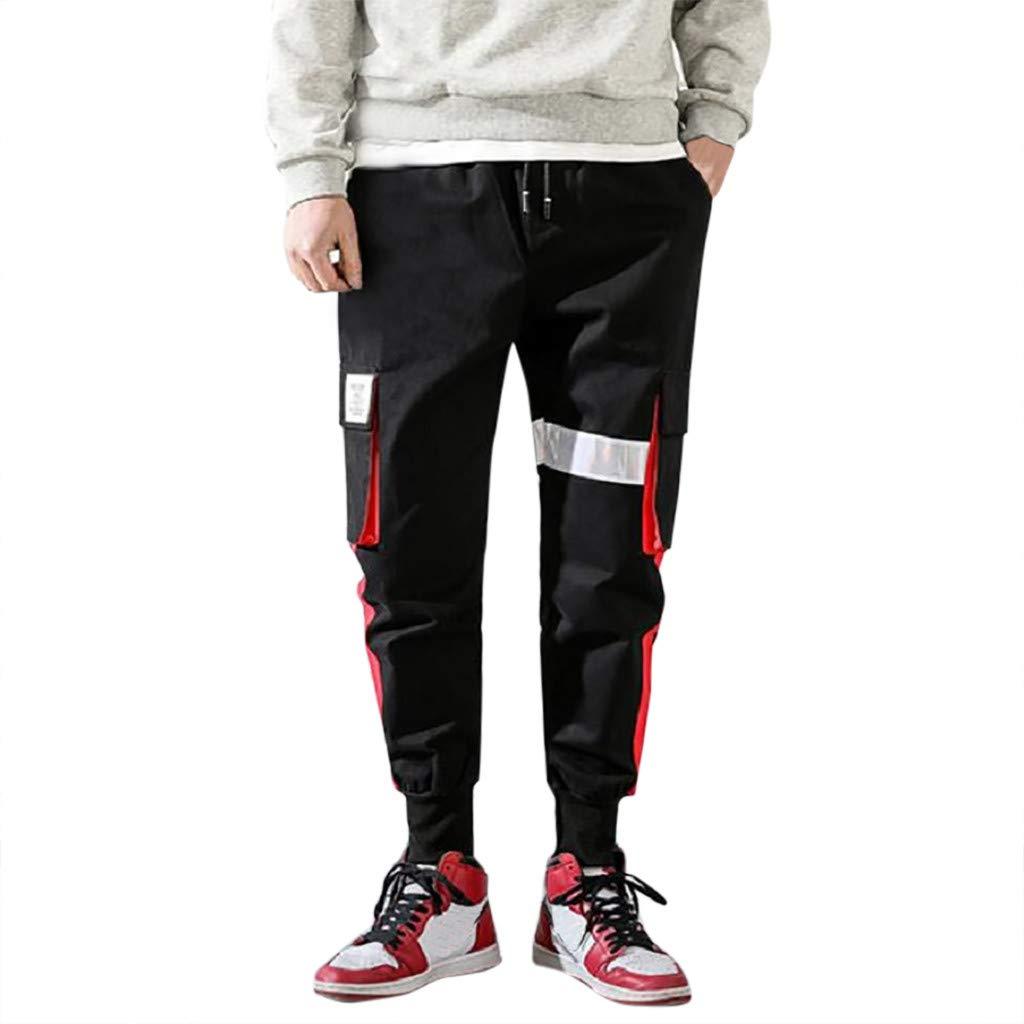 Fuumiol Mens Stripe Track Pants Sport Harem Pants Casual Hip Hop Drawstring Ankle Pants Ankle Length Relaxed Fit Black